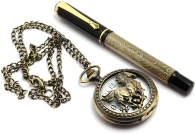 SRPC ANTIQUE LOOK STYLISH POCKET WATCH & DESIGNER ROLLERBALL Pen Gift Set