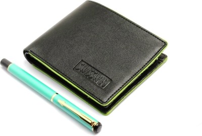 SRPC PREMIUM LEATHER WALLET & ARROW CLIP EXECUTIVE ROLLERBALL Pen Gift Set(Pack of 2, Blue)