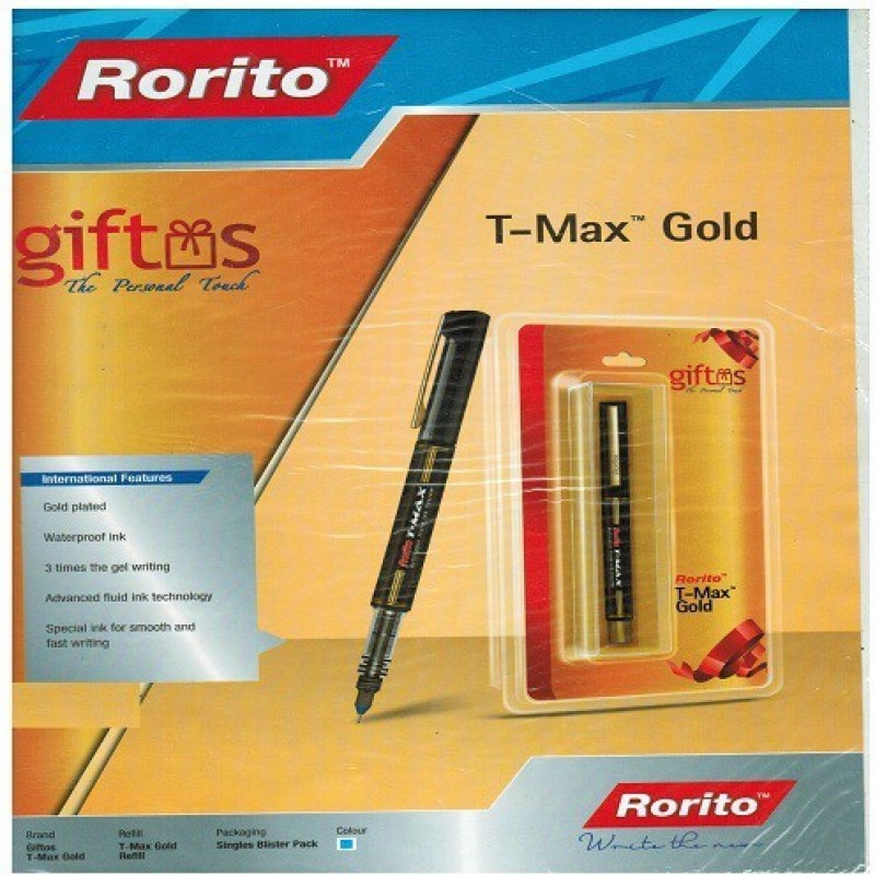 RORITO T- MAX GOLD PACK OF 4 PCS Gel Pen(Pack of 4, Blue)