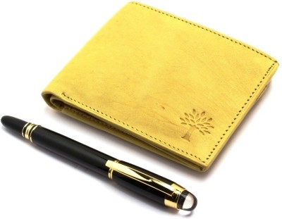 SRPC PREMUM LEATHER BOYS CASUAL WALLET & DESIGNER EXECUTIVE ROLLERBALL Pen Gift Set(Pack of 2, Blue)
