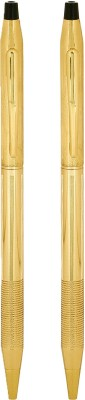 Giftvenue Golden Ball Pens with Black Finishing Ball Pen(Pack of 2, Blue)