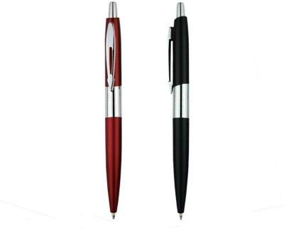 RIF Metal Chrome Pen Red & Black (Set of 2 Pcs) Ball Pen