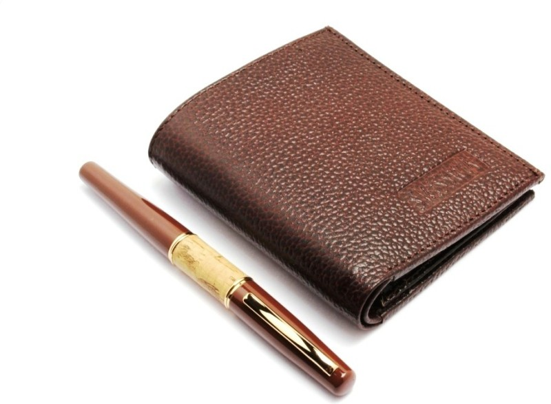 SRPC PREMIUM MENS GENUINE LEATHER WALLET & EXECUTIVE ROYAL WOOD Fountain Pen(Pack of 2, Blue)