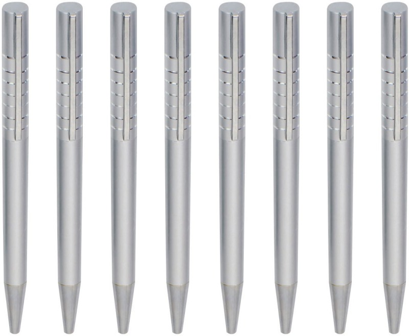Zarsa Classic Silver Roller Ball Pen(Pack of 8, Blue)