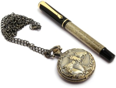SRPC stylish pocket watch chain & antique look legendary rollerball Pen Gift Set(Pack of 2, Blue)
