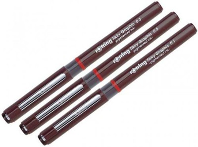 Rotring Tikky Graphic Fineliner Pen(Pack of 3, Black)