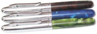 Perfect Set of 3 Dark Marble Finish with Silver Cap & Trim Roller Ball Pen