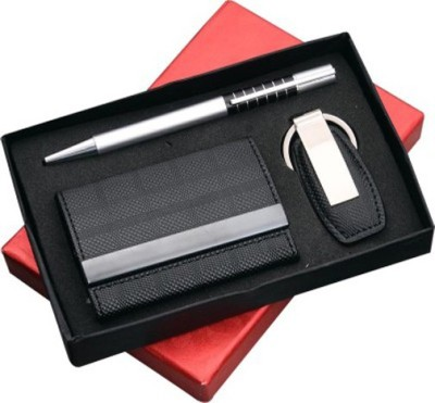 Empreus 3 in 1 Double side card holder, Leatherette keychain and pen Pen Gift Set