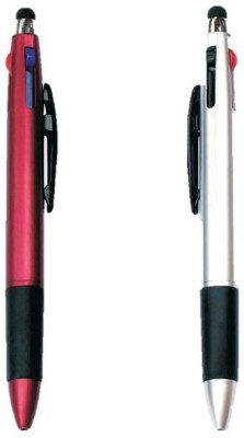 RIF 3 Refill with Stylus Red & Silver (Set of 2 Pcs ) Ball Pen(Pack of 2, Blue)
