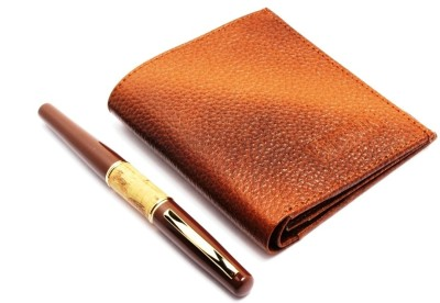 SRPC PREMIUM GENUINE LEATHER MENS WALLET & EXECUTIVE ROYAL WOOD FOUNTAIN Pen Gift Set(Pack of 2, Blue)