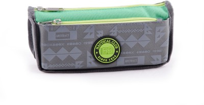 Chrome Printed Dual-colour Art Polyester Pencil Box(Set of 1, Grey, Green)