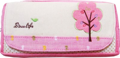 Ling Song Tree Flowers Art Cloth Pencil Box
