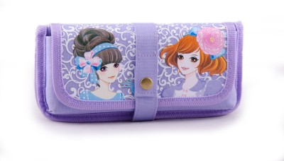 Chrome Printed Anime Character Art Polyester Pencil Box(Set of 1, Violet)