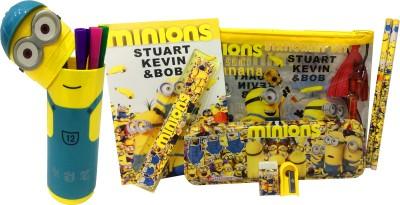 Gayatri Creations MINION COMBO 1 MINION POUCH, 1 MINION PENCIL BOX, SET OF 12 MINION SKETCH PENS, 2 PENCILS, 1 MINION NOTEBOOK, 1 RULER, 1 ERASER, 1 SHARPNER Art PLASTIC::METAL Pencil Boxes