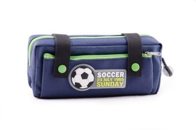 Chrome Printed Soccer Art Polyester Pencil Box(Set of 1, Dark Blue, Green)