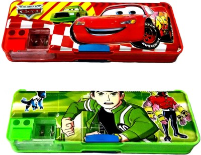 FCS Double Sided Magnetic Cartoon Art Plastic Pencil Boxes