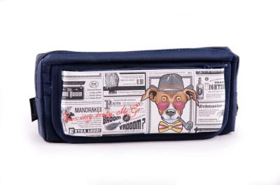 Chrome Printed Newsprint Art Polyester Pencil Box(Set of 1, Dark Blue)