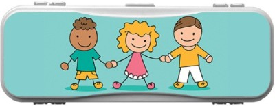 SKIN4GADGETS Skin4Gadgets KIDS HOLDING HANDS2 Designer Campass Box PATTERN Art Plastic Pencil Box
