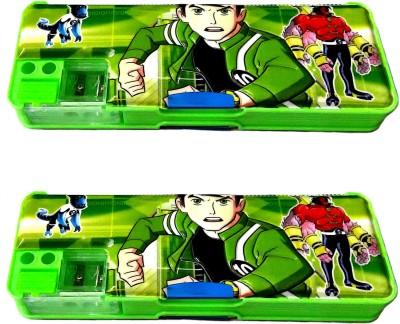 FCS Double Side Magnetic Cartoon Art Plastic Pencil Boxes