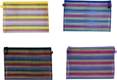 Orchard Zip Pouches Stripes Art Nylon Pencil Boxes(Set of 4, Multicolor)