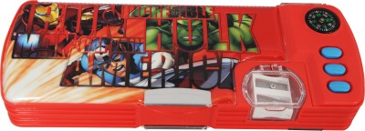 Marvel Avenger Superhero Art Plastic Pencil Box(Set of 1, Red, Blue)