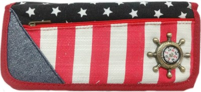 Aardee Compass Red Stripes Design Art Thick Fabric Pencil Box