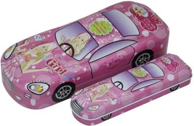 Shopaholic Barbie Car Shaped Art Metal Pencil Boxes(Set of 1, Pink)
