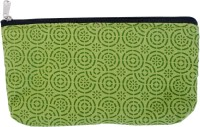 Viniyog Hand Printed Geometric Design Art Cloth Pencil Box(Set of 1, Green)