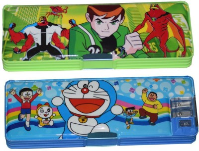 Tara Lifestyle Doraemon and Ben 10 Printed Art Plastic Pencil Boxes