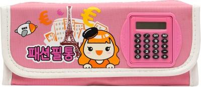 Pokizo Rotating Calculator With Cartoon Art High Quality Fabric Pencil Box