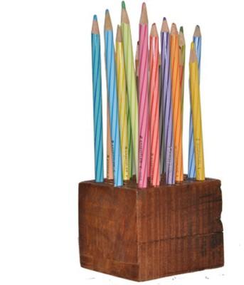 Dimensions Stationary Wooden Pencil/Pen Holder Natural Wood Art Solid Wood Pencil Box