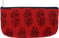 Viniyog Hand Printed Motif Design Art Cloth Pencil Box(Set of 1, Red, Black)