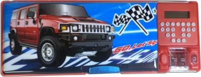 Karta Hummer Car Big with calculator & dual sharpner Art Plastic Pencil Box