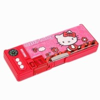 Sanrio Hello Kitty Plastic Pencil Box(Set of 1, Red, Pink)