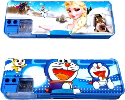FCS Magnetic with Double Sided Gift Cartoon Art Plastic Pencil Boxes