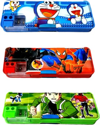 FCS Magnetic With Double Sided Gift Cartoon Art Steel/Plastic Pencil Boxes
