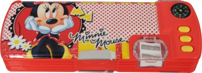 Disney Minnie Cartoon Art Plastic Pencil Box(Set of 1, Red, Yellow)