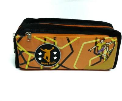 RBD Stylish Orange Art Plastic Fabric Pencil Box