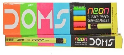 DOMS NEON RUBBER TIPPED Round Shaped Pencils