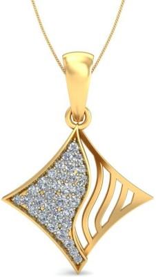 Ornomart Kite Diamond Swirl Yellow Gold Diamond Gold Pendant