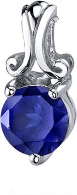 Peora Refined Charm Rhodium Sapphire Sterling Silver Pendant