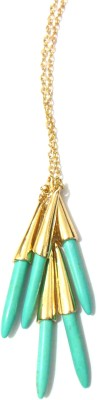Bohocraft Bohemian Gorgeous Simulated Blue Bunched Turquoise Stone Long Chain Metal Pendant