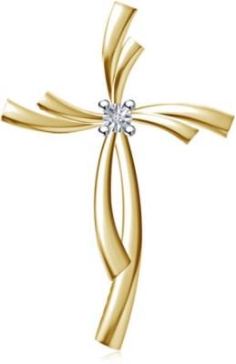 Devina Jewels Stunning Cross 14K Yellow Gold Diamond Sterling Silver Pendant