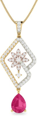 WearYourShine by PC Jewellers PC Jeweller The Caitrin 18kt Diamond, Ruby Yellow Gold Pendant at flipkart