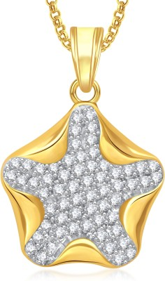 Meenaz Star Pendant With Chain Brass Cubic Zirconia, Crystal Alloy Pendant