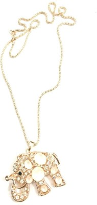 Gliteri Hanging Elephant Rose Gold Metal, Stone Pendant