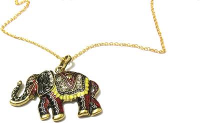 Bohocraft Bohemian Beautiful Red Multi Colored Gold Elephant Long Chain Neckpiece Metal Pendant