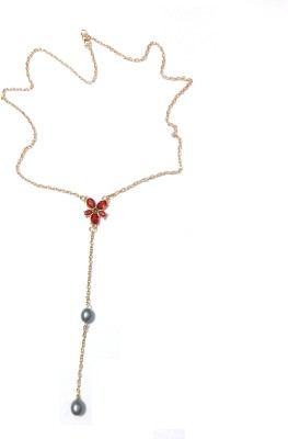 Bohocraft Bohemian Red Crystal Flower Tasseld Neckpiece Metal Pendant
