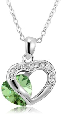 Merastore Green Double Heart Alloy Pendant