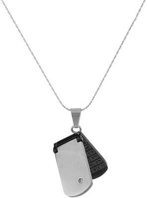 Voylla Artificial Classic Glossy Silver Cubic Zirconia Stainless Steel Pendant at flipkart